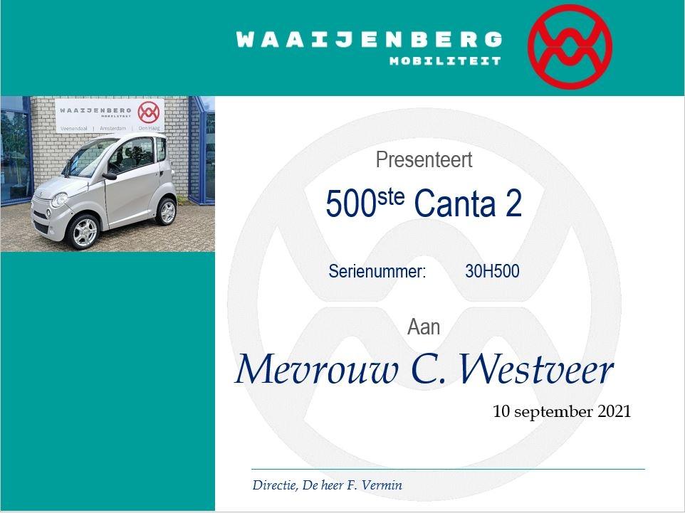 certificaat 500ste Canta C2